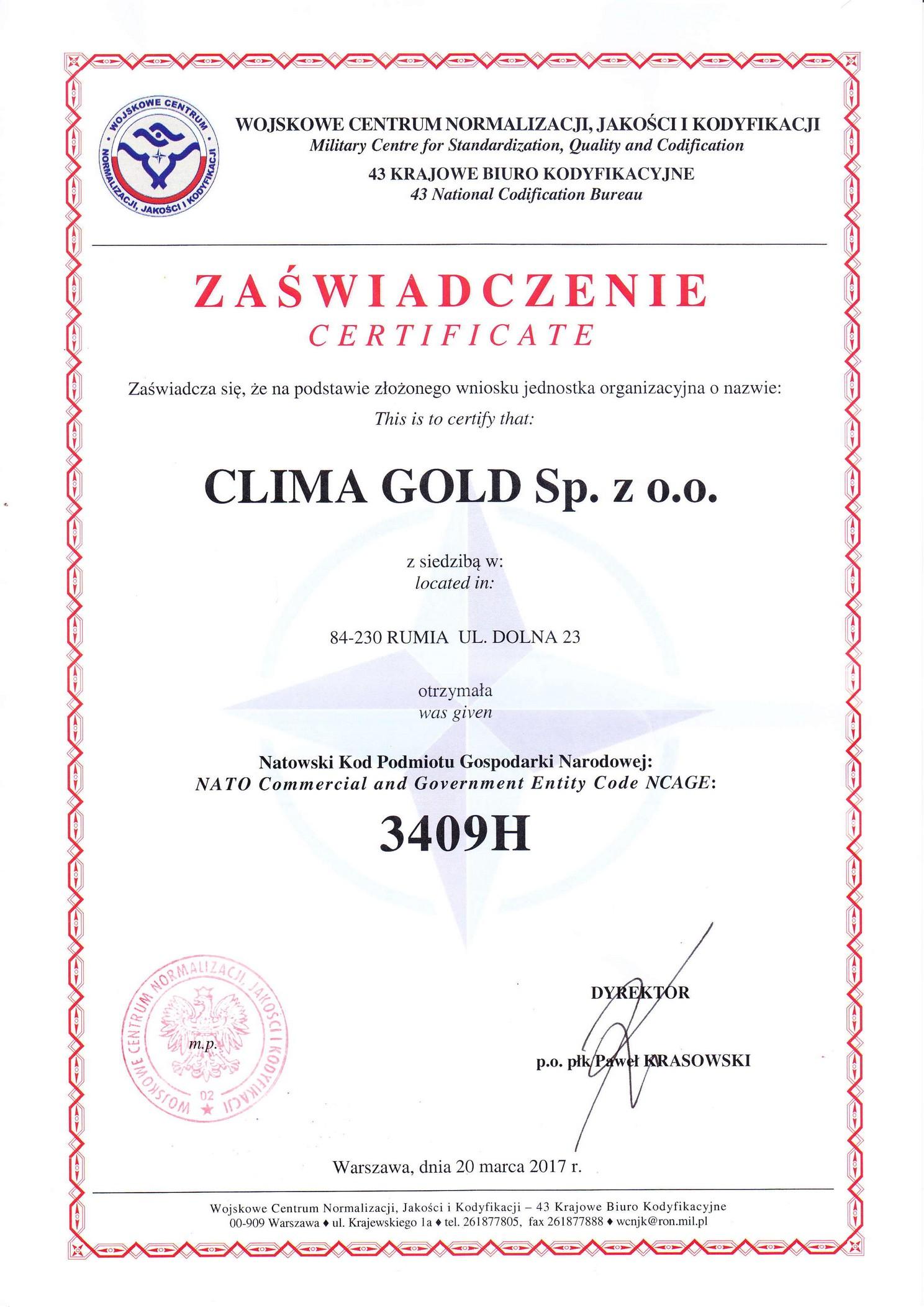 Certyfikat NATO (NCAGE) dla Clima Gold Sp. z o.o.