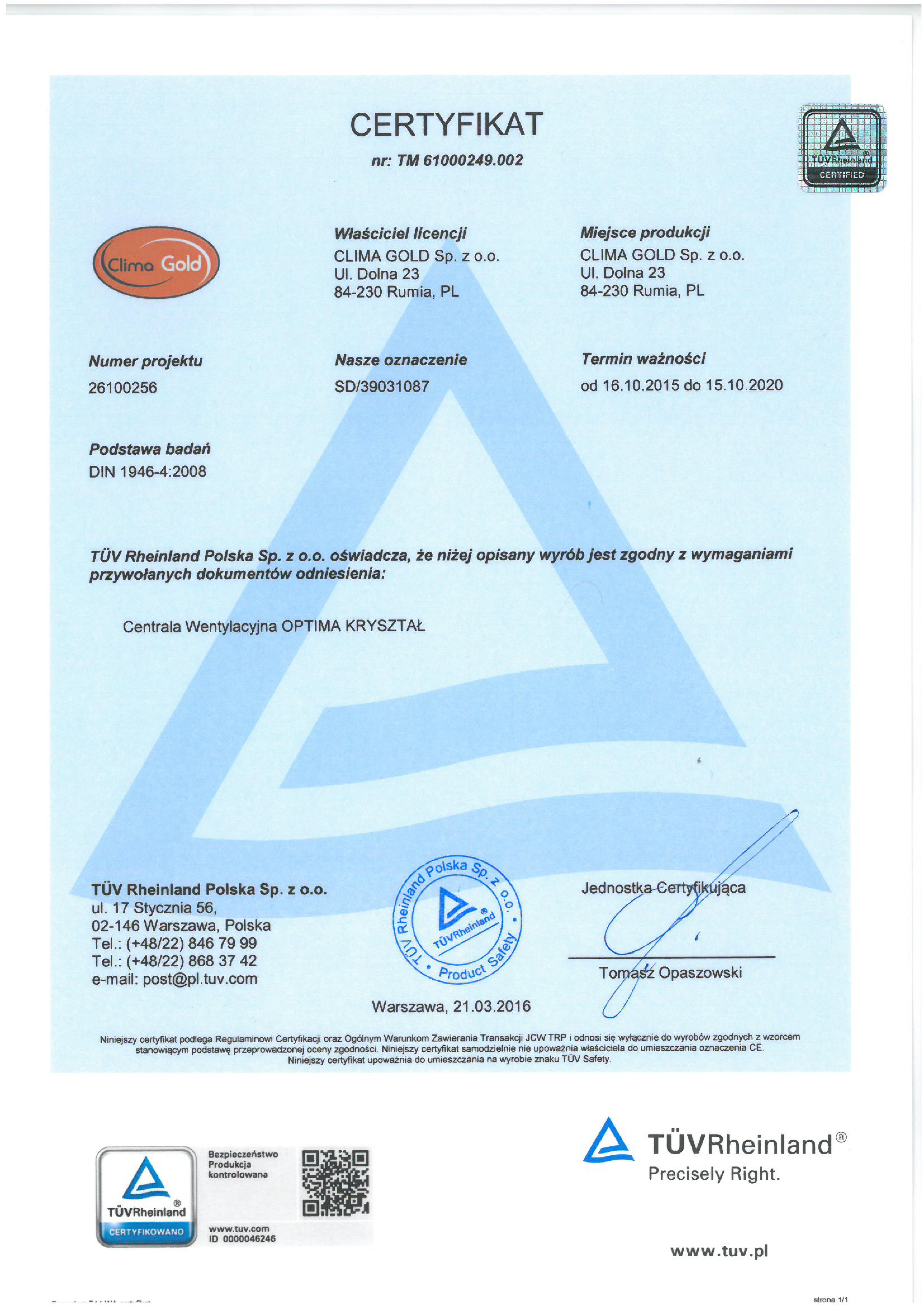 TÜV Rheinland – inspekcja miejsca produkcji