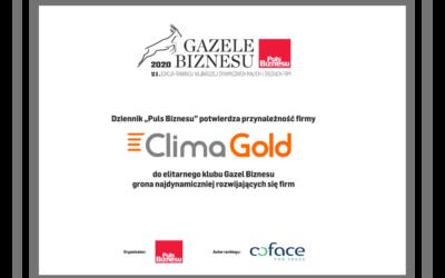 Clima Gold wśród Gazel Biznesu za 2020 rok